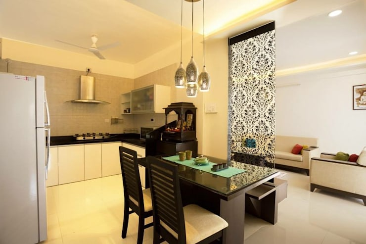 2BHK Residence:  Dining room by INTERIOR WORKS