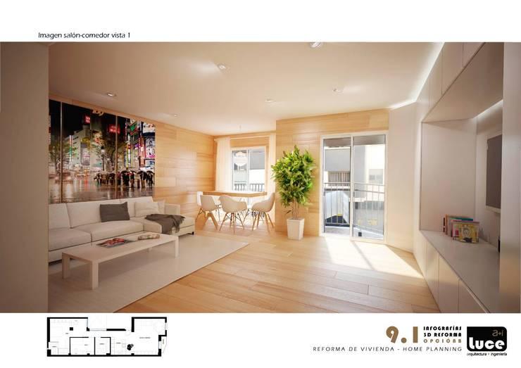 Salas de estar minimalistas por Luce a+i
