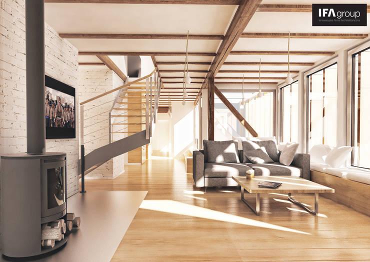 Przebudowa poddasza: styl , w kategorii Salon zaprojektowany przez IFA Kamil Domachowski