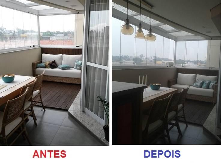 O ANTES E O DEPOIS DE UMA VARANDA GOURMET: Terraços  por Nanci Pedro Arquitetura,
