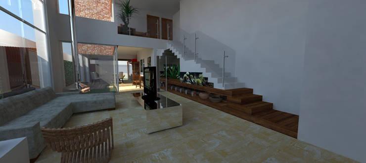 Casa em Poços de Caldas: Salas de estar  por Futura Arquitetos Associados,Campestre