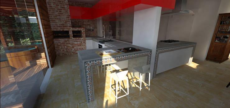 Casa em Poços de Caldas: Cozinhas  por Futura Arquitetos Associados,Campestre