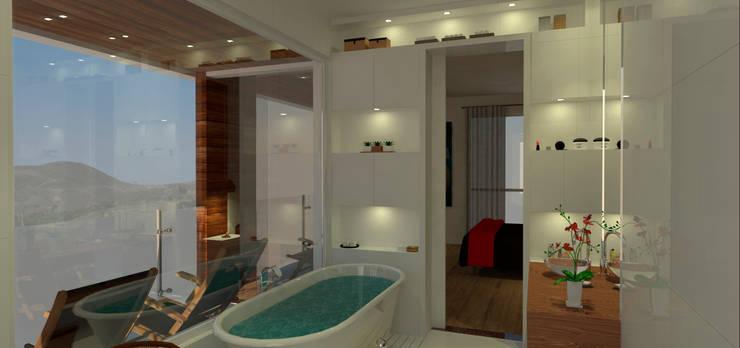 Casa em Poços de Caldas: Banheiros  por Futura Arquitetos Associados,Campestre