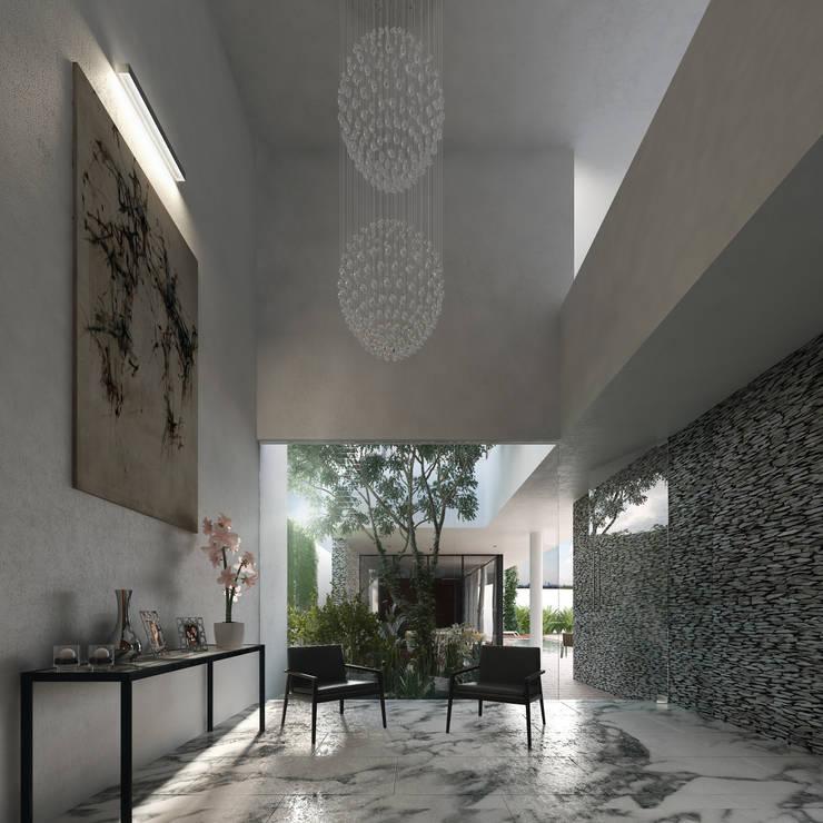 Casa Ortiz: Pasillos y recibidores de estilo  por TNGNT arquitectos