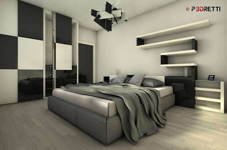 Render interni: Camera da letto in stile  di P3dretti