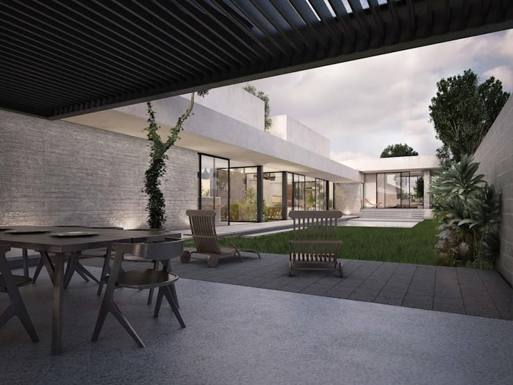 Casa Silveira: Jardines de estilo  por TNGNT arquitectos