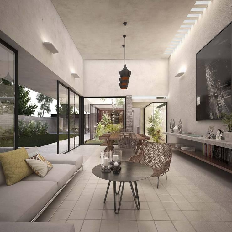 Casa Silveira: Salas de estilo  por TNGNT arquitectos