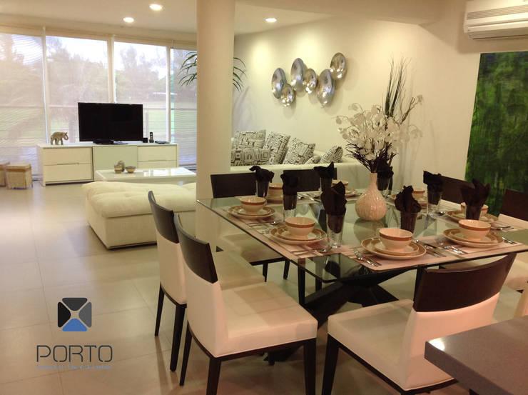 Proyecto <q>Penthouse Club de Golf Pok Ta Pok, Cancun</q>: Comedores de estilo  por PORTO Arquitectura + Diseño de Interiores