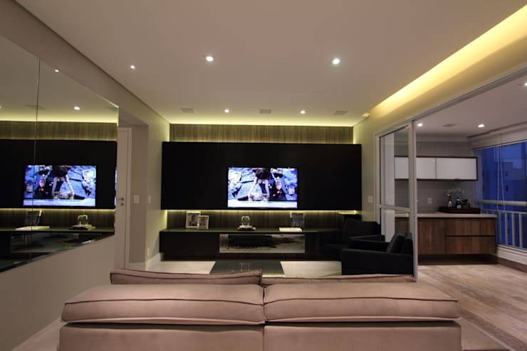 Apartamento Ânima Clube: Salas multimídia  por ArchDuo Arquitetura