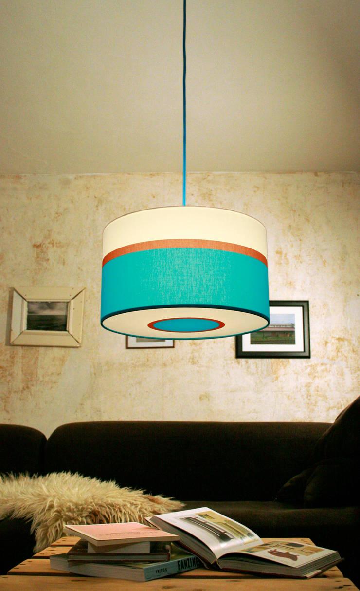 retro designerlampe in blau t rkis braun und wei von. Black Bedroom Furniture Sets. Home Design Ideas