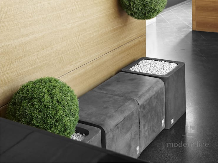 Betonowe donice: styl , w kategorii Domowe biuro i gabinet zaprojektowany przez Modern Line
