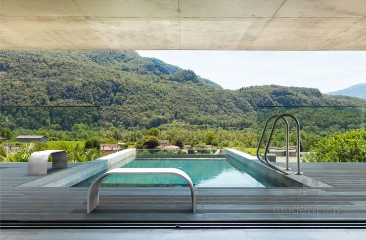 Betonowe ławki.: styl , w kategorii Basen zaprojektowany przez Modern Line,Nowoczesny