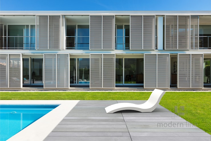 Leżak, szezlong z betonu: styl , w kategorii Taras zaprojektowany przez Modern Line,Nowoczesny
