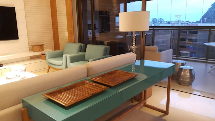 Detalhes integração visual no living.: Salas de estar  por Lucio Nocito Arquitetura e Design de Interiores ,