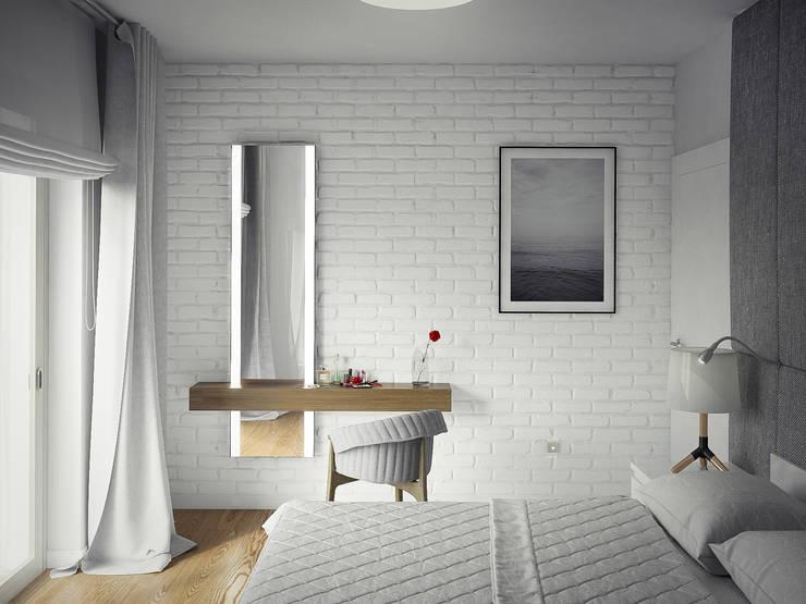PROJEKT WNĘTZR DOMU JEDNORODZINNEGO: styl , w kategorii Sypialnia zaprojektowany przez Kunkiewicz Architekci
