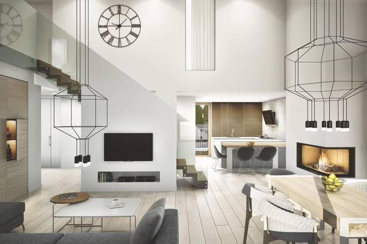 PROJEKT KOMPLEKSOWY DOMU JEDNORODZINNEGO: WNĘTRZA: styl , w kategorii Salon zaprojektowany przez Kunkiewicz Architekci  ,