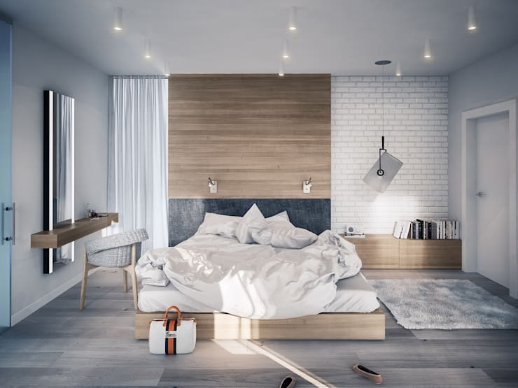 PROJEKT KOMPLEKSOWY DOMU JEDNORODZINNEGO: WNĘTRZA: styl , w kategorii Sypialnia zaprojektowany przez Kunkiewicz Architekci