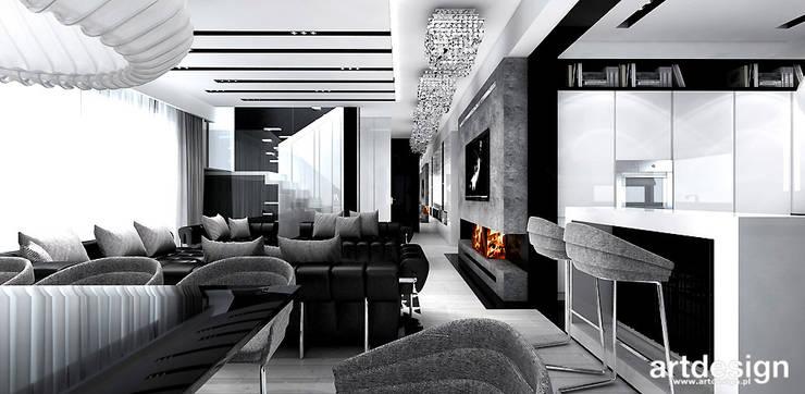 projekt wnętrza salonu z kuchnią i jadalnią: styl , w kategorii Salon zaprojektowany przez ARTDESIGN architektura wnętrz,Nowoczesny