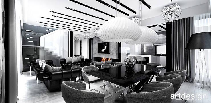 projekt wnętrza salonu z kuchnią i jadalnią: styl , w kategorii Jadalnia zaprojektowany przez ARTDESIGN architektura wnętrz,Nowoczesny