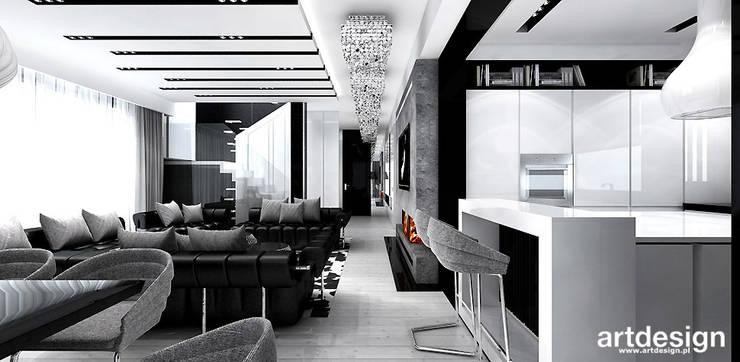 projekt wnętrza salonu z kuchnią: styl , w kategorii Kuchnia zaprojektowany przez ARTDESIGN architektura wnętrz,Nowoczesny