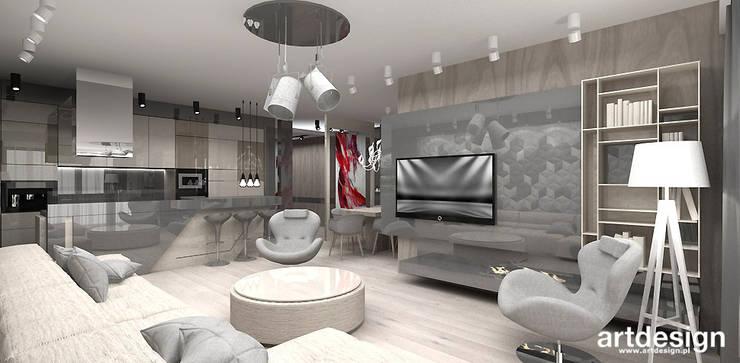 projekt salonu z otwartą kuchnią: styl , w kategorii Salon zaprojektowany przez ARTDESIGN architektura wnętrz