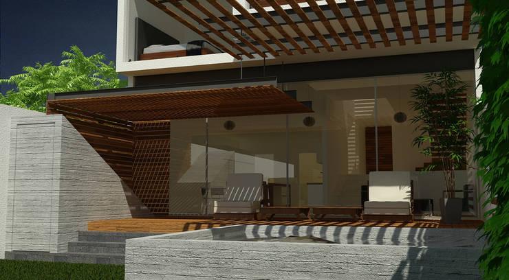 Fachada Posterior: Casas de estilo  por SANTIAGO PARDO ARQUITECTO