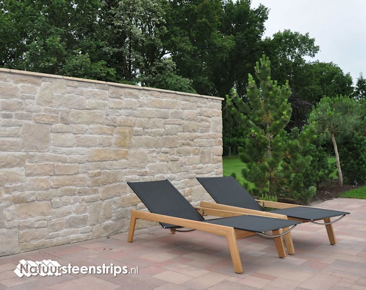Zonnige tuinmuren zoals in Italië!:  Tuin door The Flagstone Company BV, Mediterraan