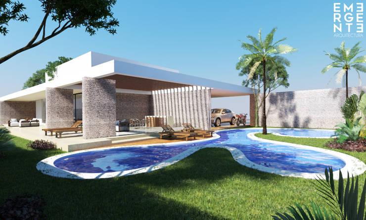 CASA FUNDADORES | Playa del Carmen Q. Roo: Albercas de estilo  por EMERGENTE | Arquitectura
