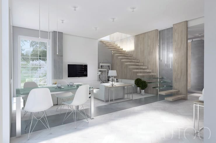 Projekt strefy dziennej w szarościach: styl , w kategorii Salon zaprojektowany przez UTOO-Pracownia Architektury Wnętrz i Krajobrazu