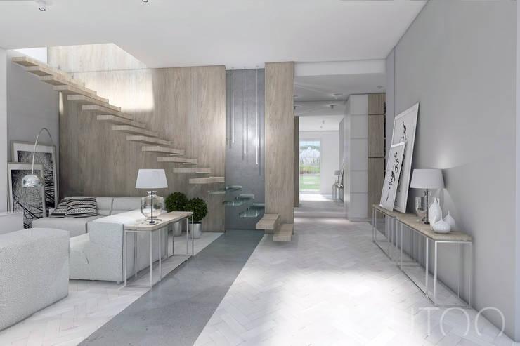 Projekt strefy dziennej w szarościach: styl , w kategorii Korytarz, przedpokój zaprojektowany przez UTOO-Pracownia Architektury Wnętrz i Krajobrazu