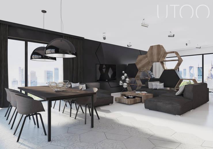 Projekt wnętrza w ciemnych barwach: styl , w kategorii Salon zaprojektowany przez UTOO-Pracownia Architektury Wnętrz i Krajobrazu