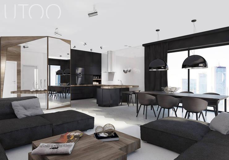 Projekt wnętrza w ciemnych barwach: styl , w kategorii Kuchnia zaprojektowany przez UTOO-Pracownia Architektury Wnętrz i Krajobrazu,Nowoczesny