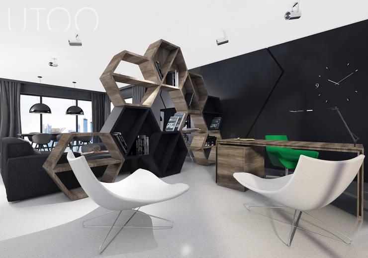 Projekt wnętrza w ciemnych barwach: styl , w kategorii Domowe biuro i gabinet zaprojektowany przez UTOO-Pracownia Architektury Wnętrz i Krajobrazu