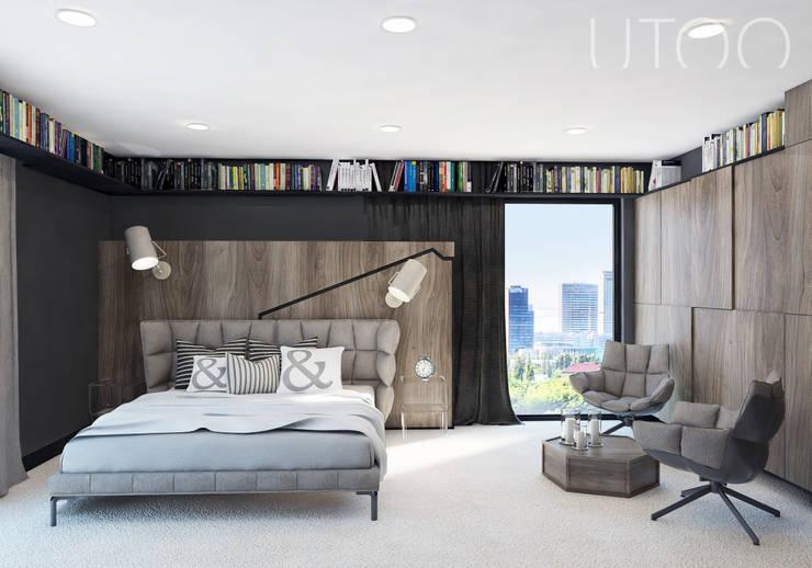 Projekt wnętrza w ciemnych barwach: styl , w kategorii Sypialnia zaprojektowany przez UTOO-Pracownia Architektury Wnętrz i Krajobrazu
