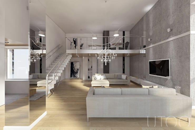 Projekt mieszkania dwupoziomowego: styl , w kategorii Salon zaprojektowany przez UTOO-Pracownia Architektury Wnętrz i Krajobrazu