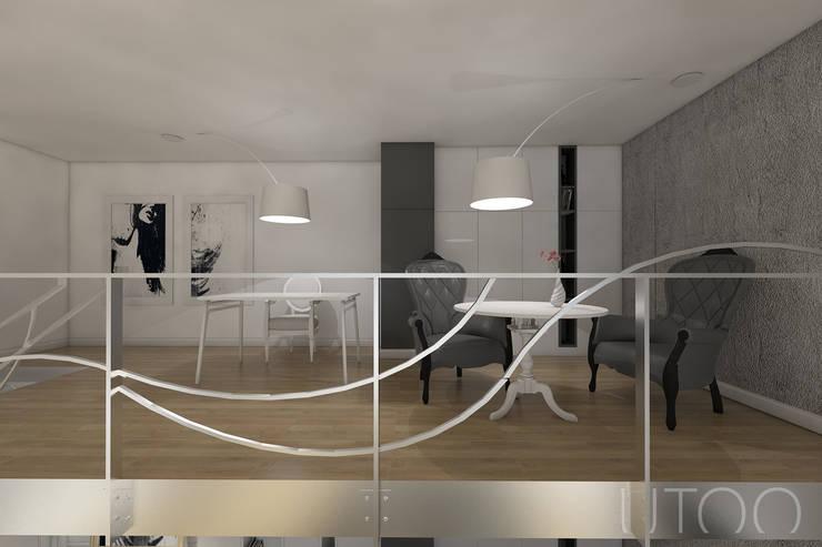Projekt mieszkania dwupoziomowego: styl , w kategorii Domowe biuro i gabinet zaprojektowany przez UTOO-Pracownia Architektury Wnętrz i Krajobrazu