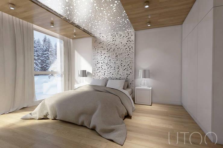 Projekt mieszkania dwupoziomowego: styl , w kategorii Sypialnia zaprojektowany przez UTOO-Pracownia Architektury Wnętrz i Krajobrazu