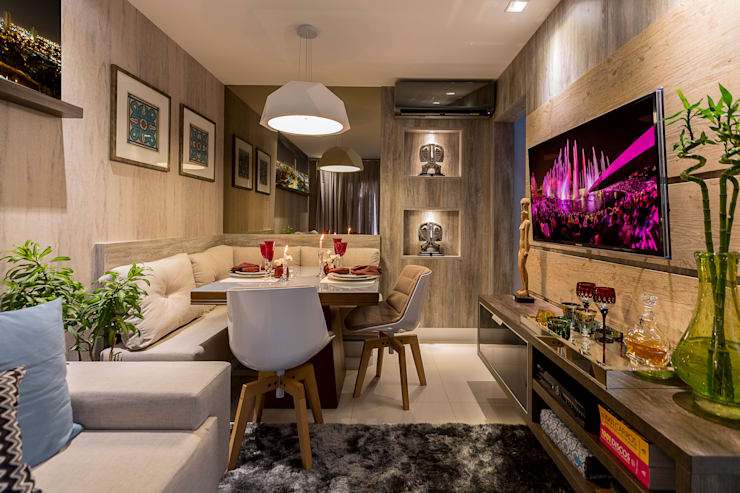 Projeto 2: Salas de estar  por Cristiane Fernandes Designer de Interiores,