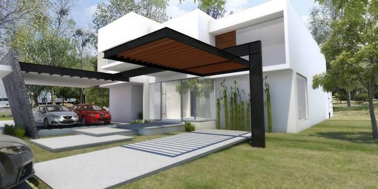 Fachada : Casas de estilo  por SANTIAGO PARDO ARQUITECTO