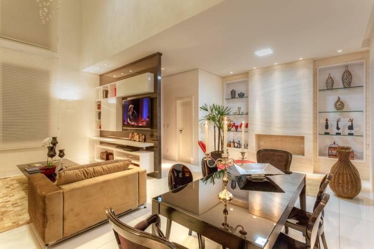 sala de estar jantar - Nova Lima: Salas de estar  por JANAINA NAVES - Design & Arquitetura,Moderno