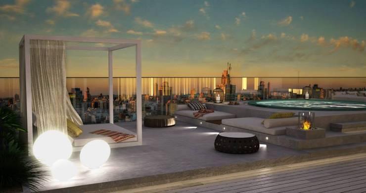 Hiên, sân thượng by DZINE & CO, Arquitectura e Design de Interiores