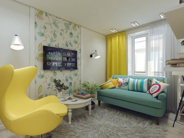 Дизайн-проект в ЖК Миргород: Гостиная в . Автор – Details, design studio, Эклектичный