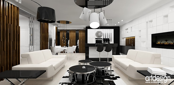 salon z kuchnią w nowoczesnym apartamencie: styl , w kategorii Salon zaprojektowany przez ARTDESIGN architektura wnętrz