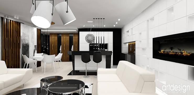 salon z kuchnią: styl , w kategorii Salon zaprojektowany przez ARTDESIGN architektura wnętrz