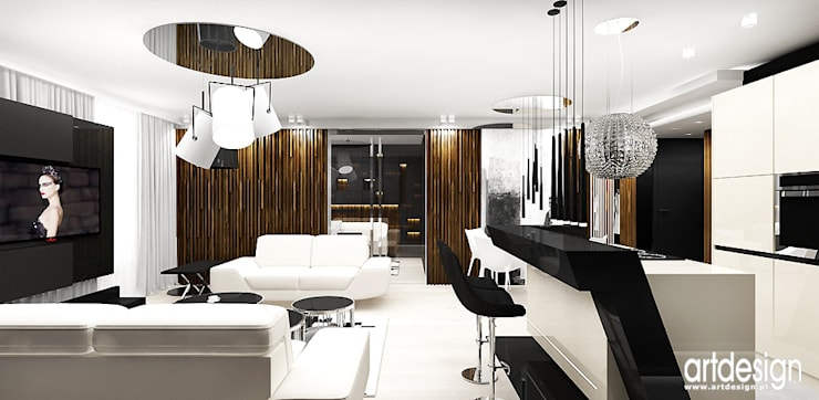 salon z kuchnią: styl , w kategorii Kuchnia zaprojektowany przez ARTDESIGN architektura wnętrz