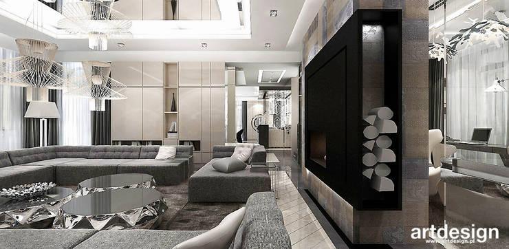salon z kominkiem: styl , w kategorii Salon zaprojektowany przez ARTDESIGN architektura wnętrz