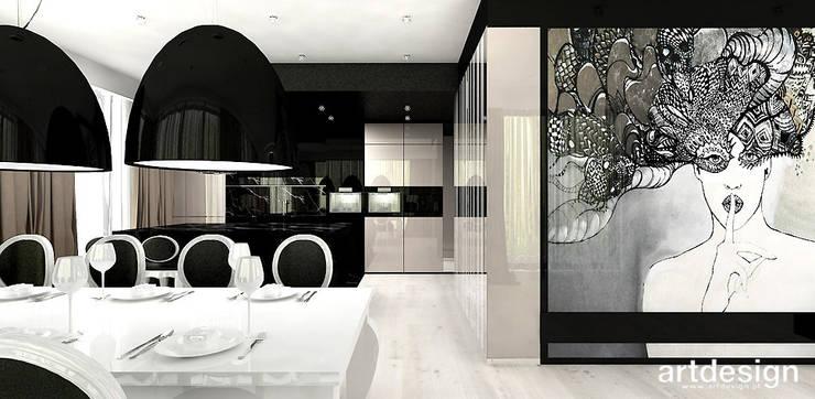 salon, jadalnia i kuchnia w apartamencie: styl , w kategorii Jadalnia zaprojektowany przez ARTDESIGN architektura wnętrz,Nowoczesny