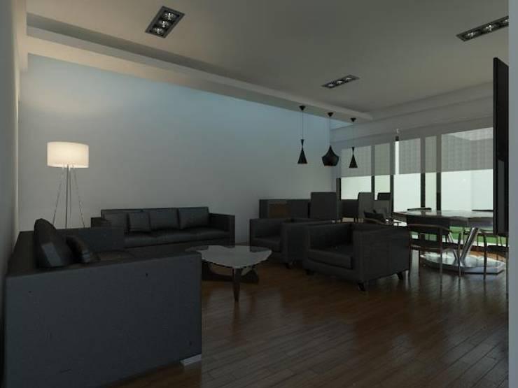 Casa Pachuca A-1: Salas de estilo  por CELE disseny