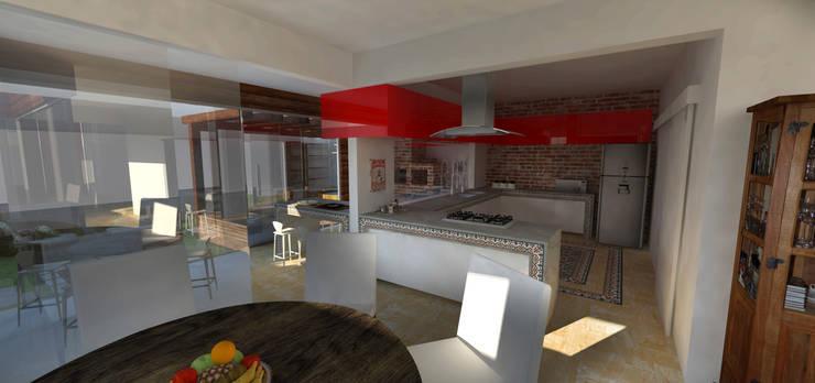 casa em Poços de Caldas: Salas de estar  por Futura Arquitetos Associados