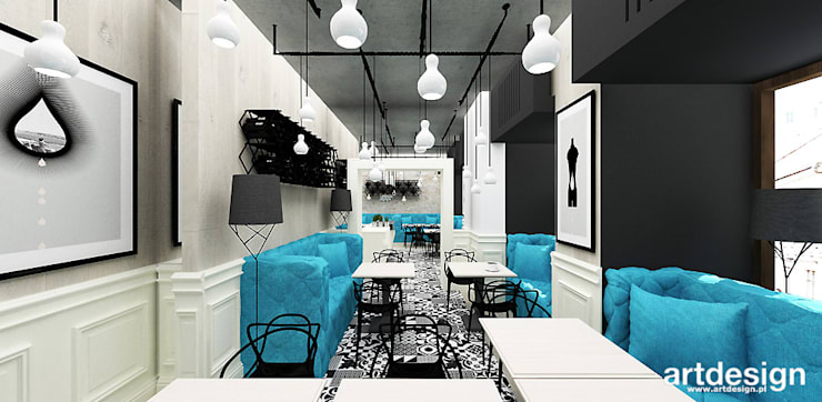ARANŻACJA WNĘTRZA MAŁEJ RESTAURACJI: styl , w kategorii Gastronomia zaprojektowany przez ARTDESIGN architektura wnętrz